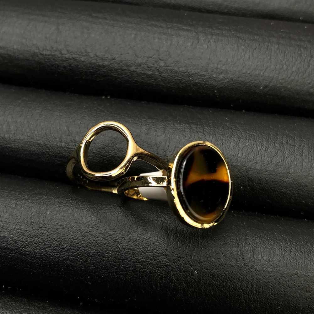 Anel de bijuteria kit com 2 unidades dourado pedra oval mesclada bege