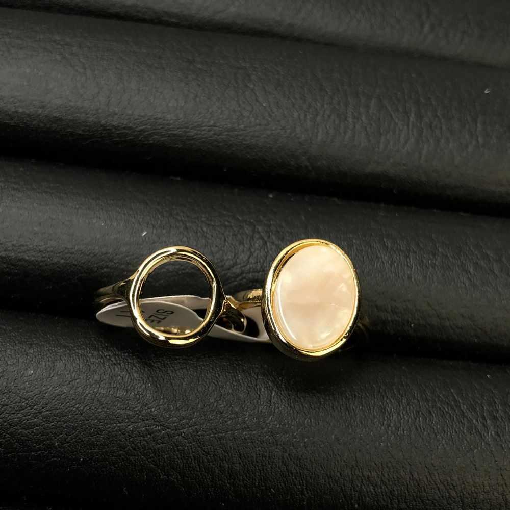 Anel de bijuteria kit com 2 unidades dourado pedra oval mesclada madre pérola