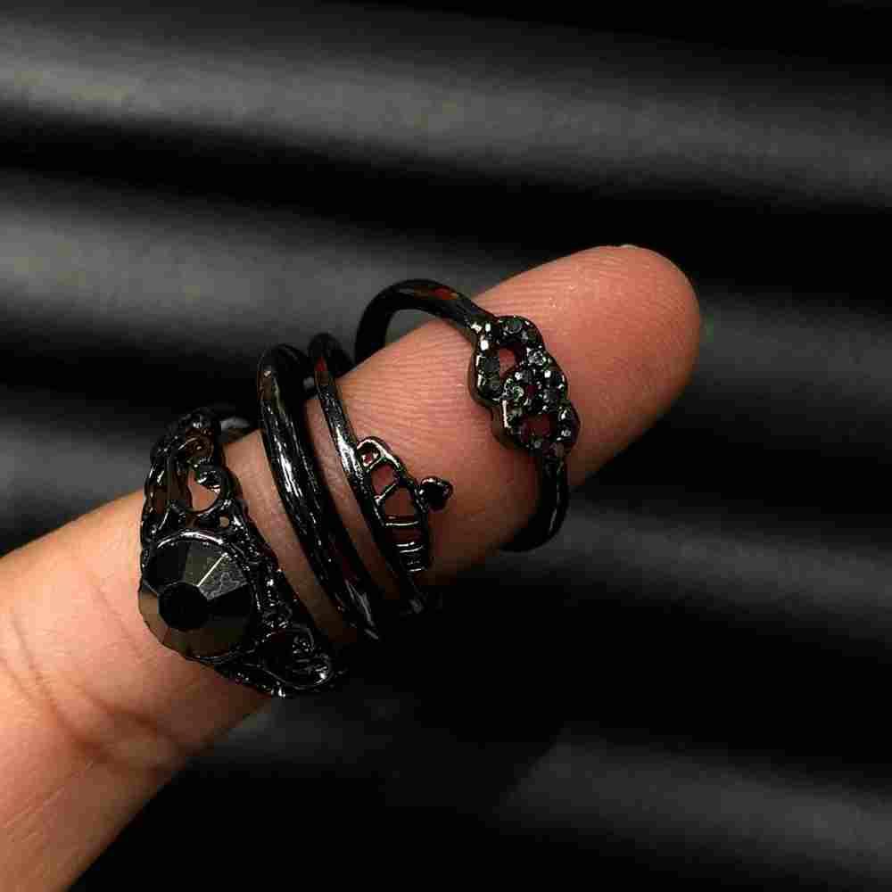 Anel de bijuteria kit com 4 unidades grafite coroa, pedra e coração duplo