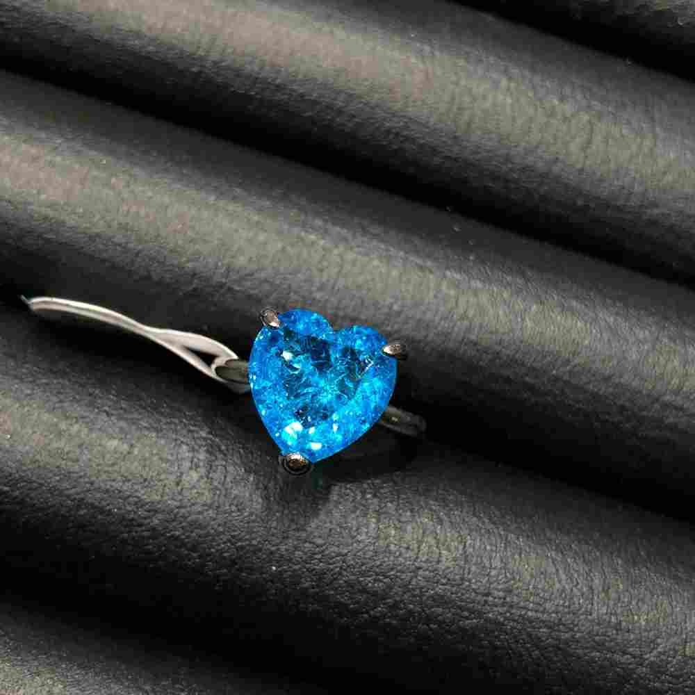 Anel de bijuteria prata pedra coração fusion azul piscina
