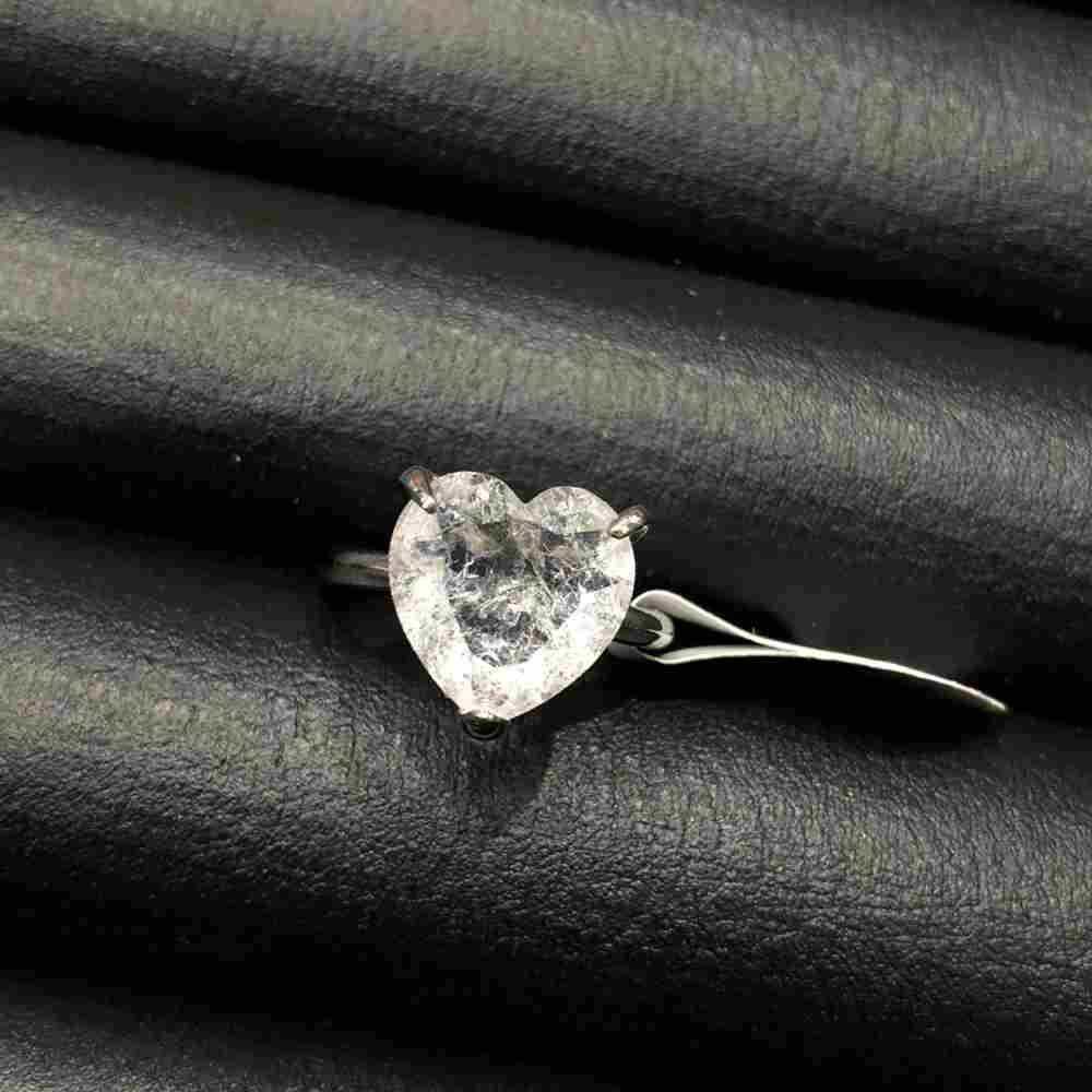 Anel de bijuteria prata pedra coração fusion cristal