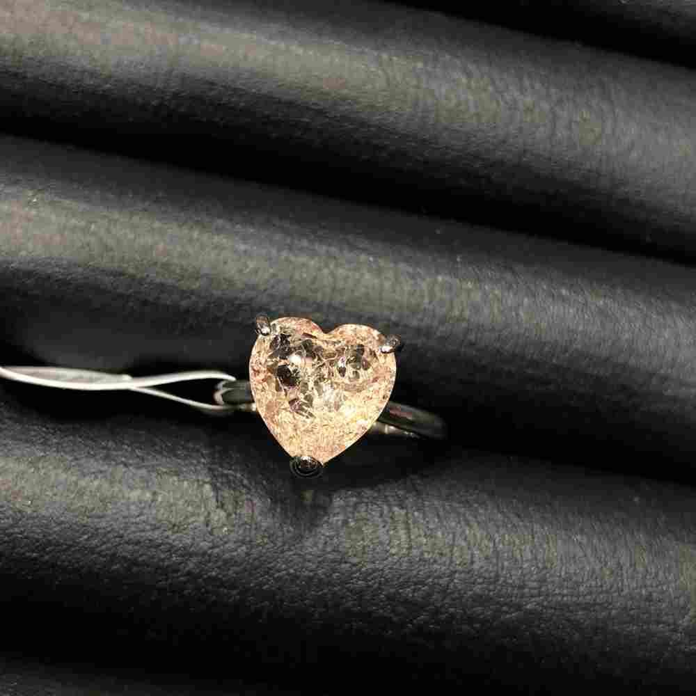 Anel de bijuteria prata pedra coração fusion rose