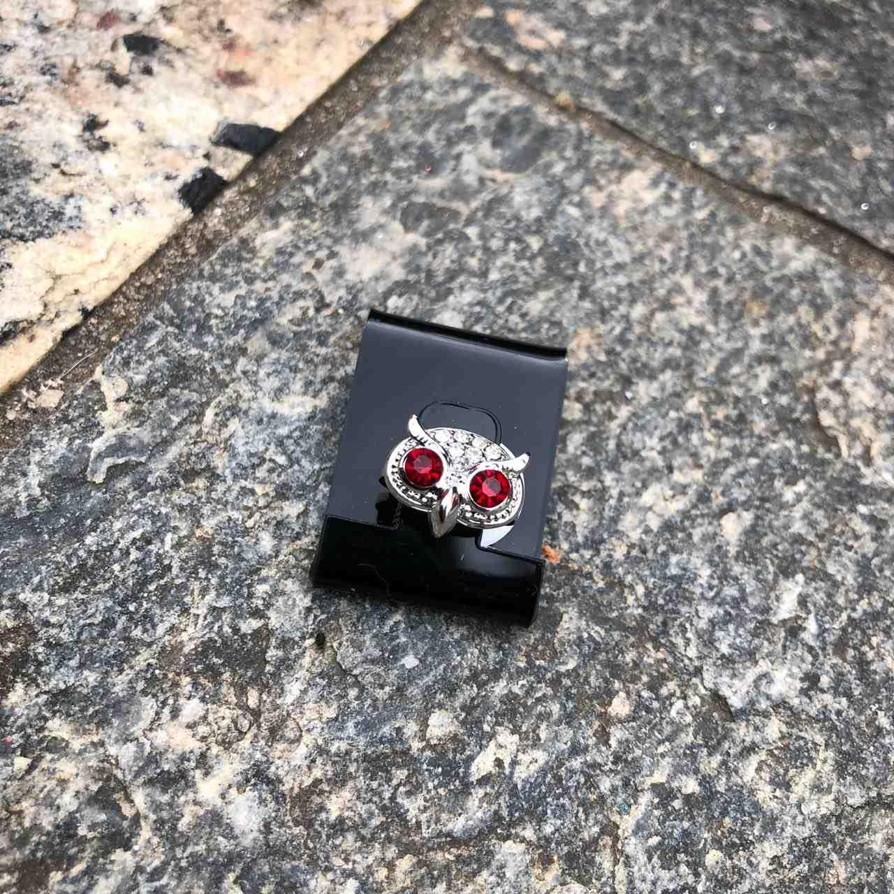 Anel Falange Prata Coruja Pedrarias de Strass Vermelho