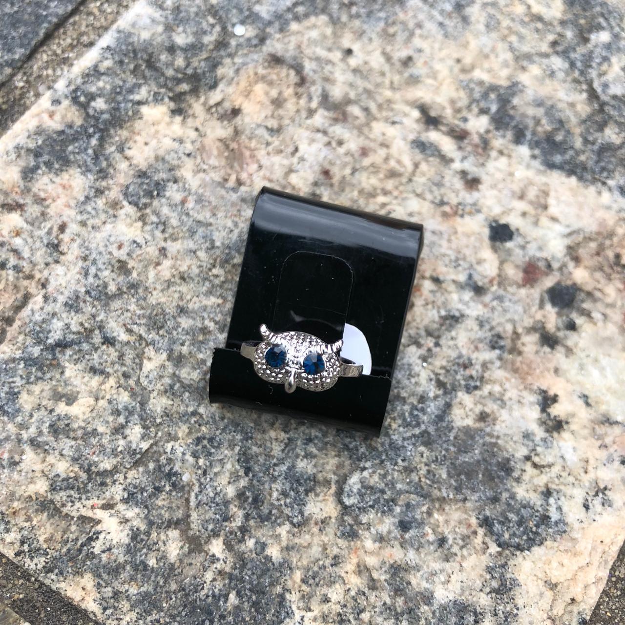 Anel Falange Prata Coruja Pedrarias de Strass Azul