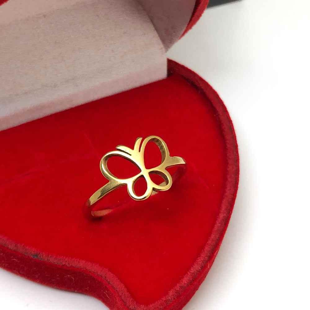 Anel feminino borboleta dourado banhado aço inoxidável