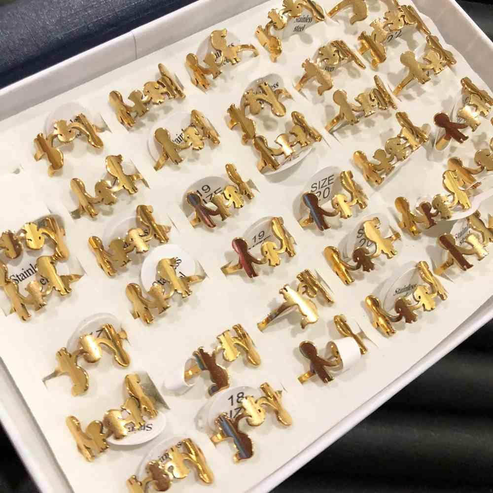 Anel feminino dourado filhos/família aço inoxidável 316L caixa com 36 unidades