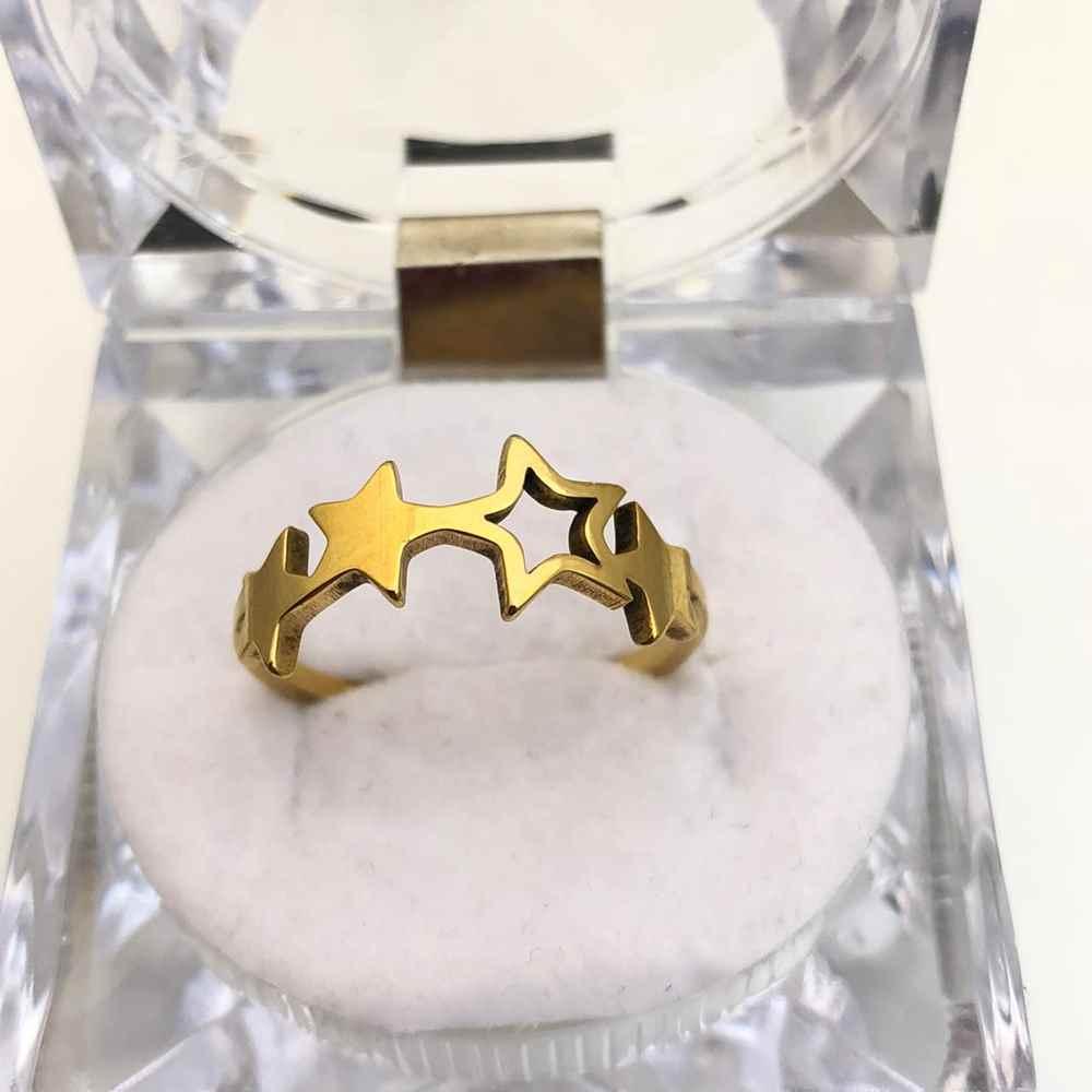 Anel feminino estrelas estrelinhas banhado dourado aço inoxidável
