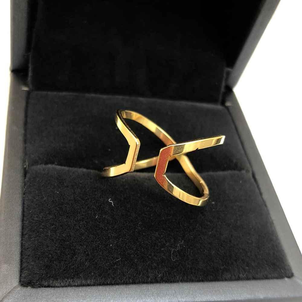 Anel feminino formato X duplo banhado dourado em aço inoxidável