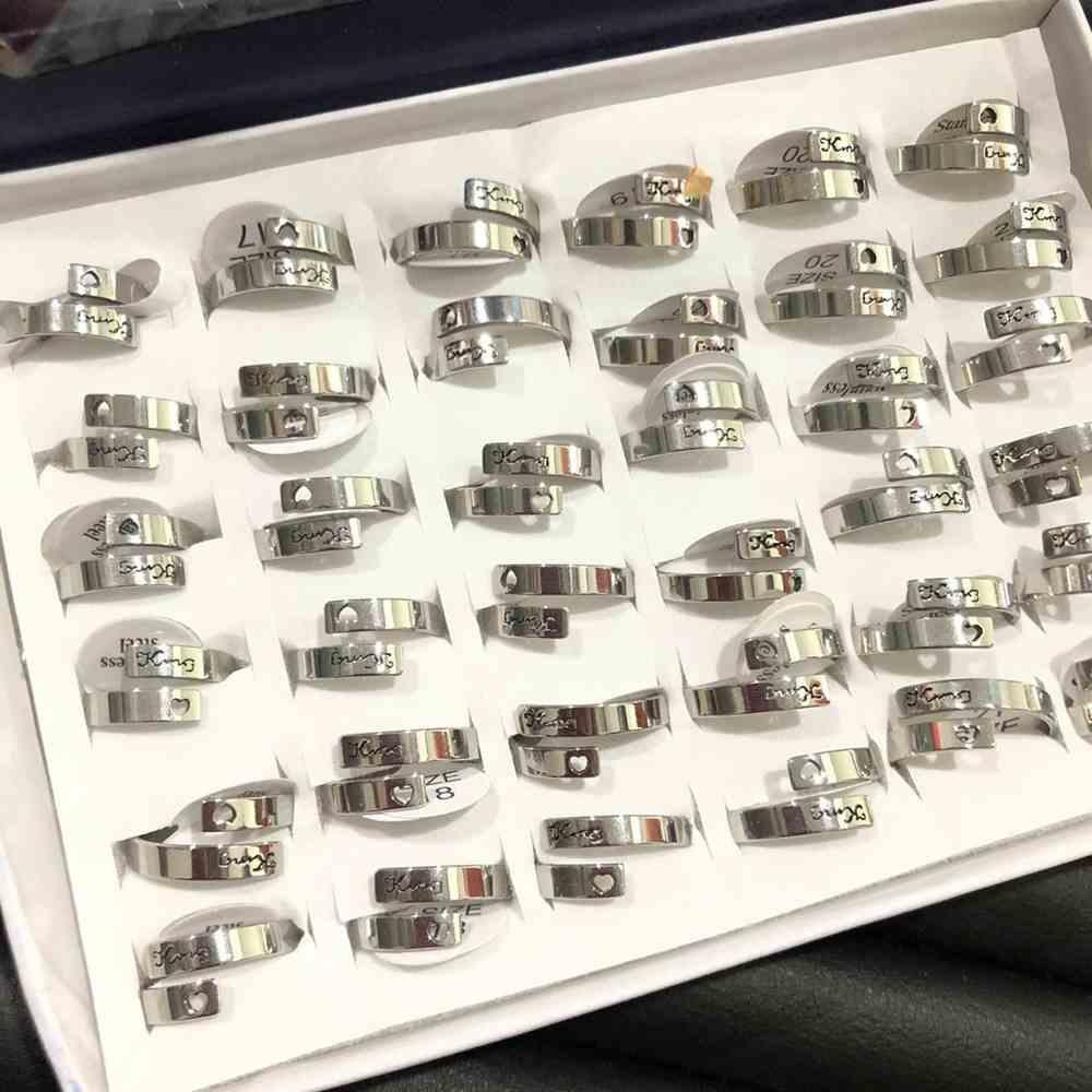 Anel feminino prata fio duplo king (rei) com coração vazado aço inoxidável 316L caixa com 36 unidades