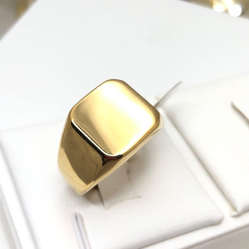 Anel masculino dedeira masculina banhada dourada lisa aço inoxidável