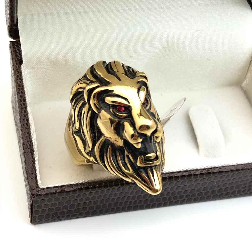 Anel masculino dedeira masculina banhado dourado aço inoxidável cabeça de leão
