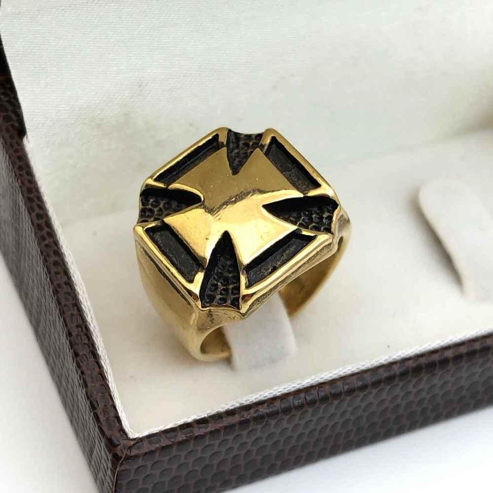 Anel masculino dedeira masculina banhado dourado aço inoxidável cruz de malta