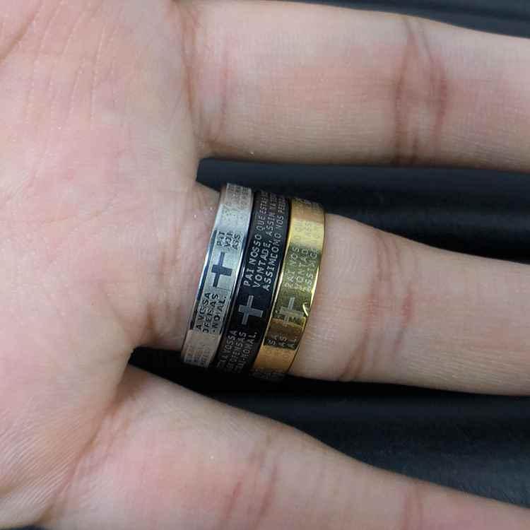 Anel Pai Nosso Trio (preto, prata e dourado 3mm cada) Escrito em Alto Relevo Masculino e Feminino