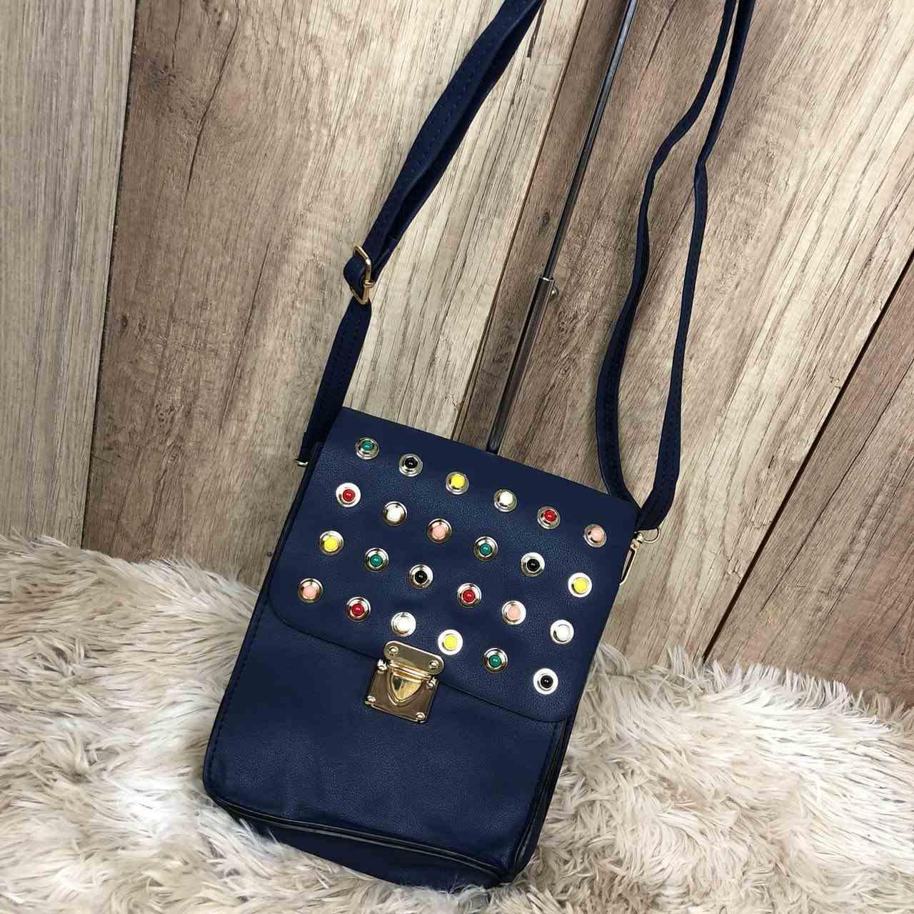 Bolsa Feminina Pequena Azul Marinho Inspiração Gucci Pérolas Coloridas Alça  Ajustável 2c4b04044dcfd