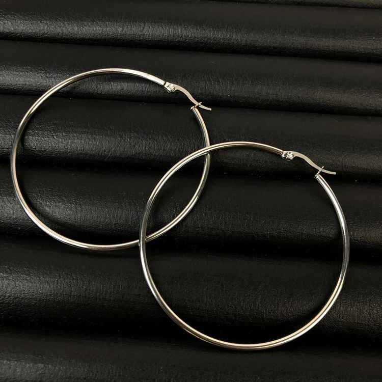 Brinco de aço argola, argola de aço PP - 5cm