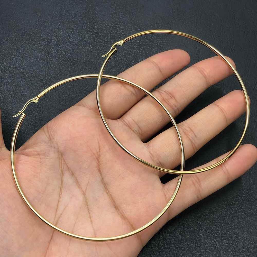 Brinco de aço argola dourada, argola de aço G - 8cm