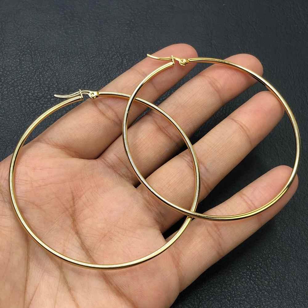Brinco de aço argola dourada, argola de aço M - 7cm
