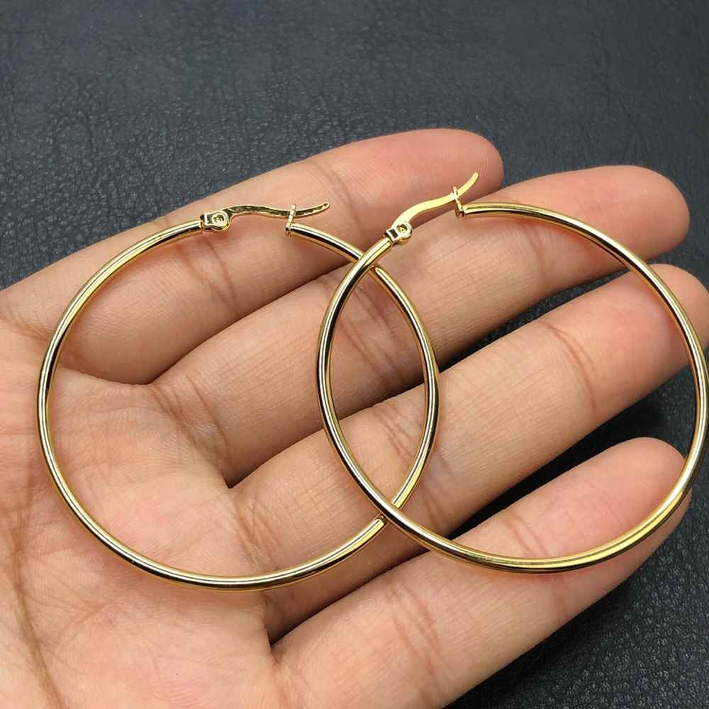 Brinco de aço argola dourada, argola de aço P - 6cm