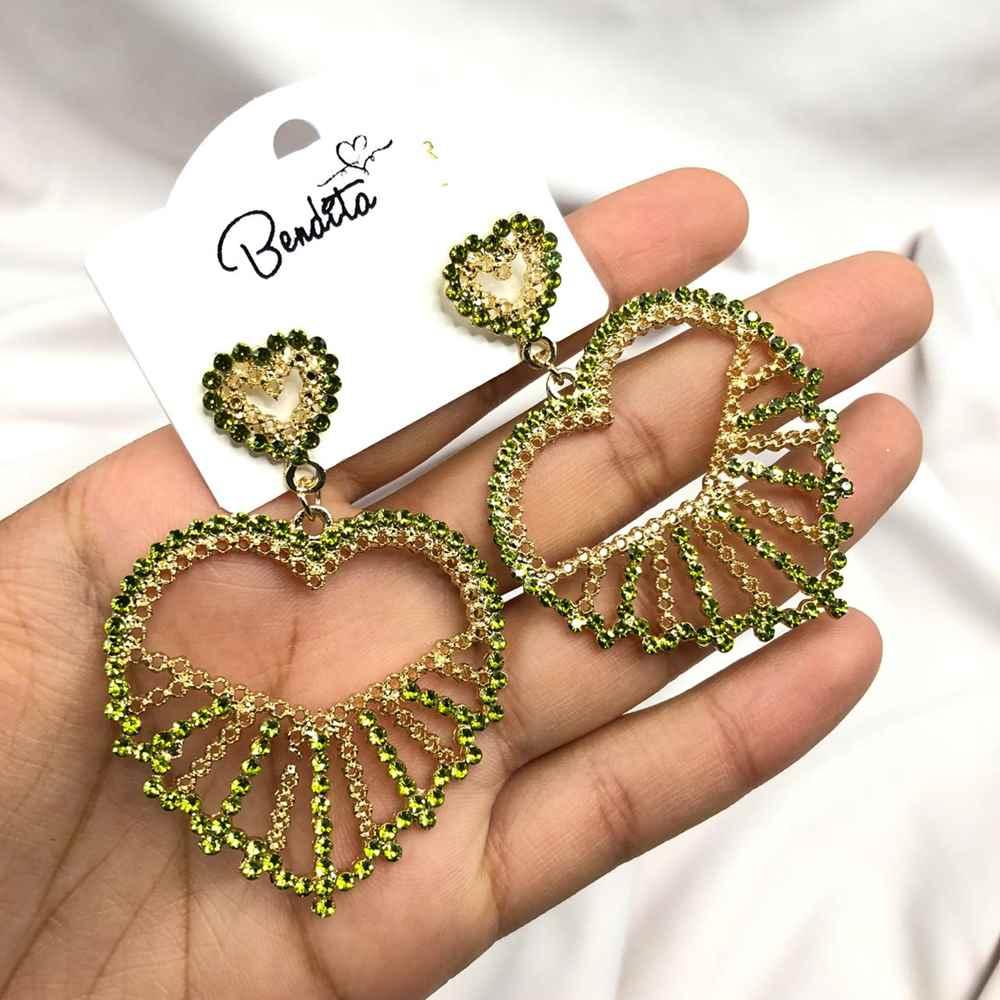 Brinco de Coração Dourado Strass Verde Lima