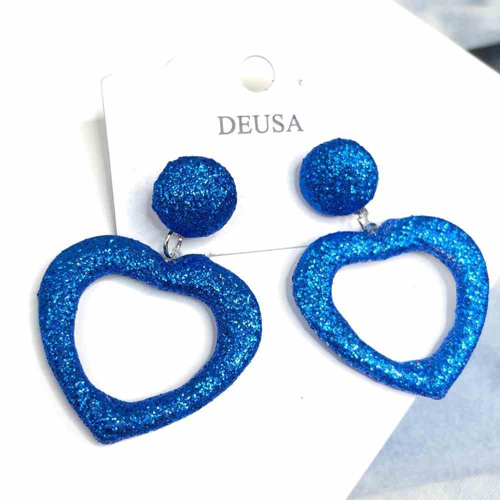 Brinco de coração glitter azul