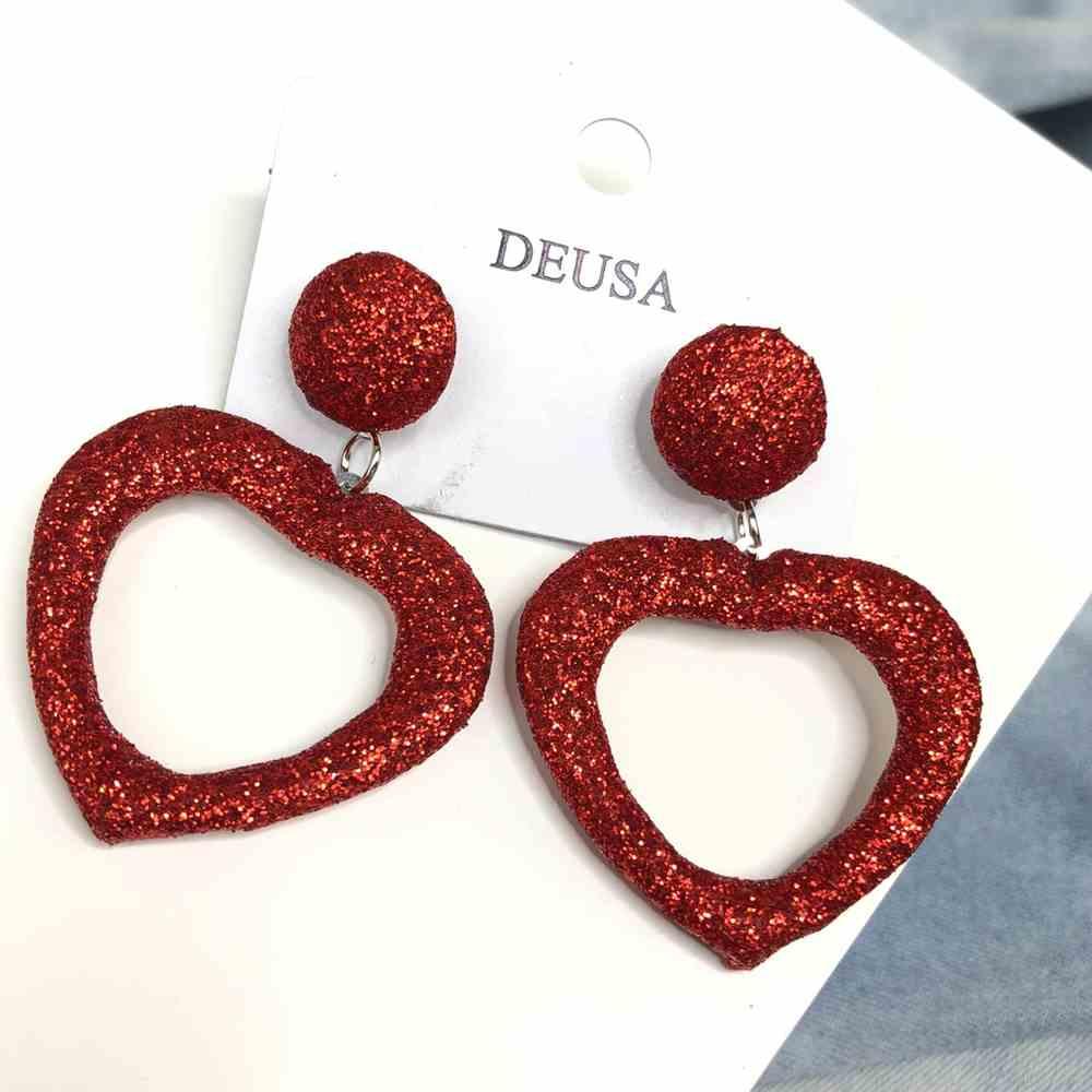 Brinco de coração glitter vermelho