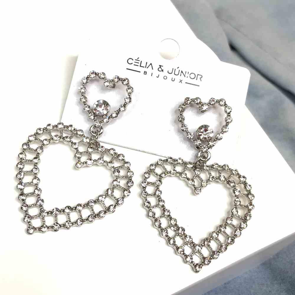 Brinco grande coração pedrarias strass prata