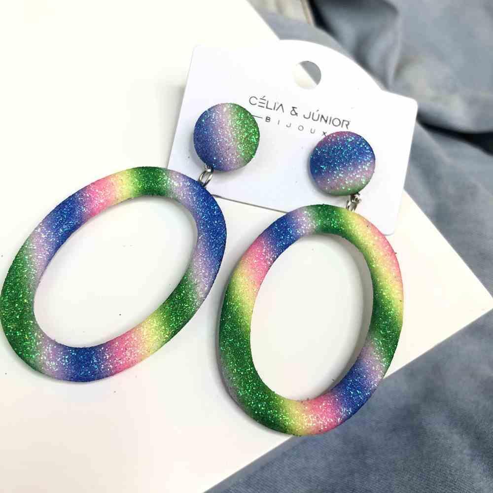 Brinco grande oval estilo tie dye colorful