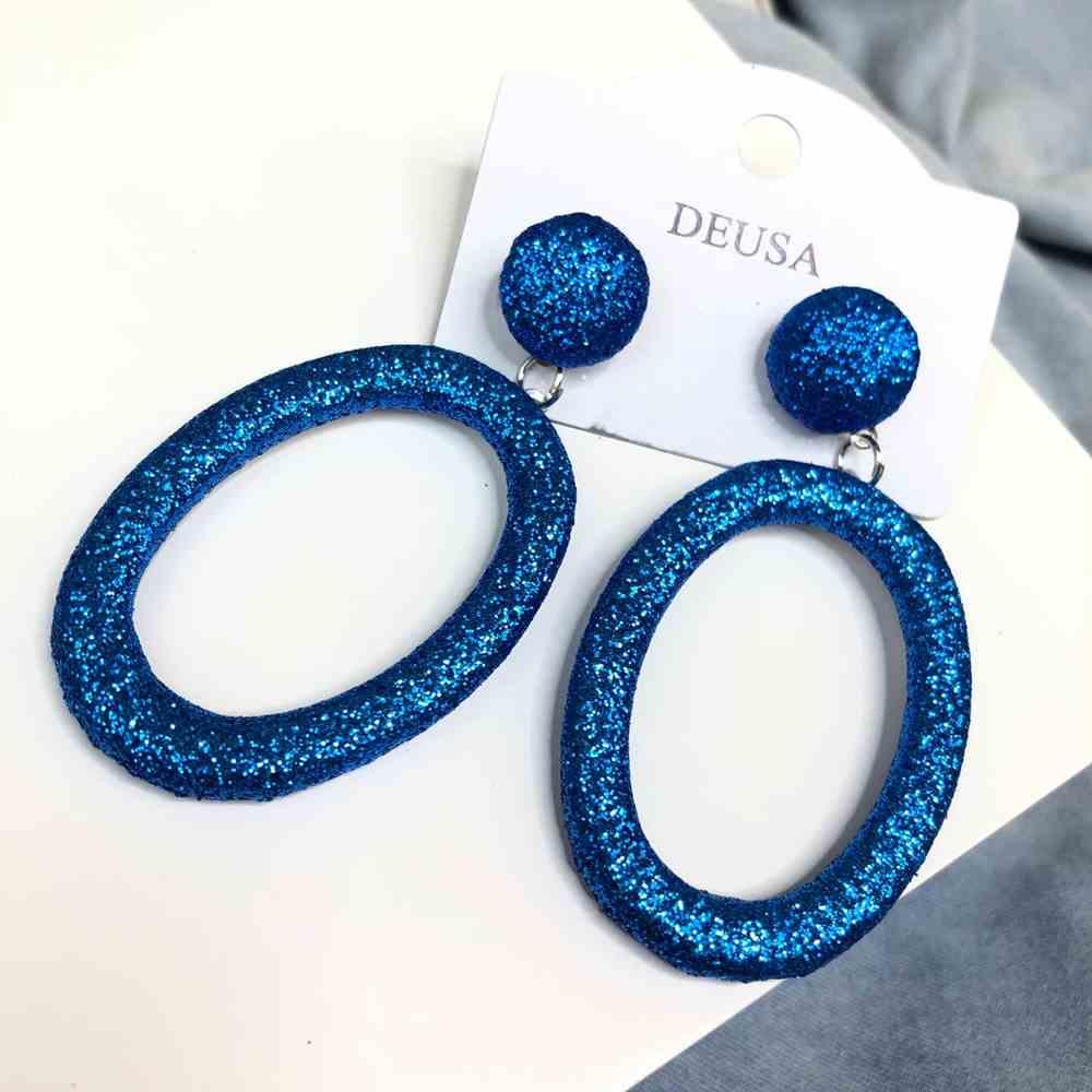 Brinco grande oval glitter azul