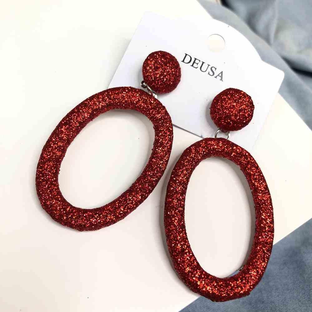 Brinco grande oval glitter vermelho
