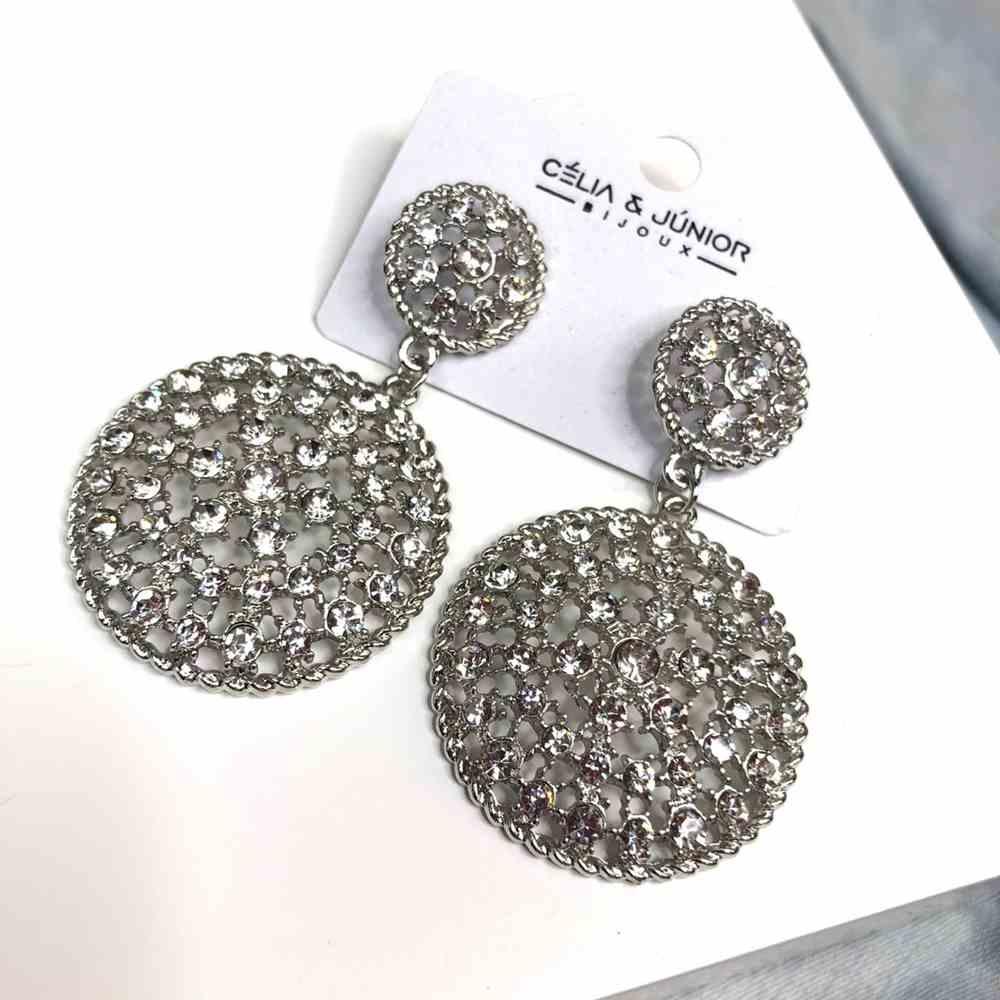 Brinco grande prata redondo duplo cravejado strass prata