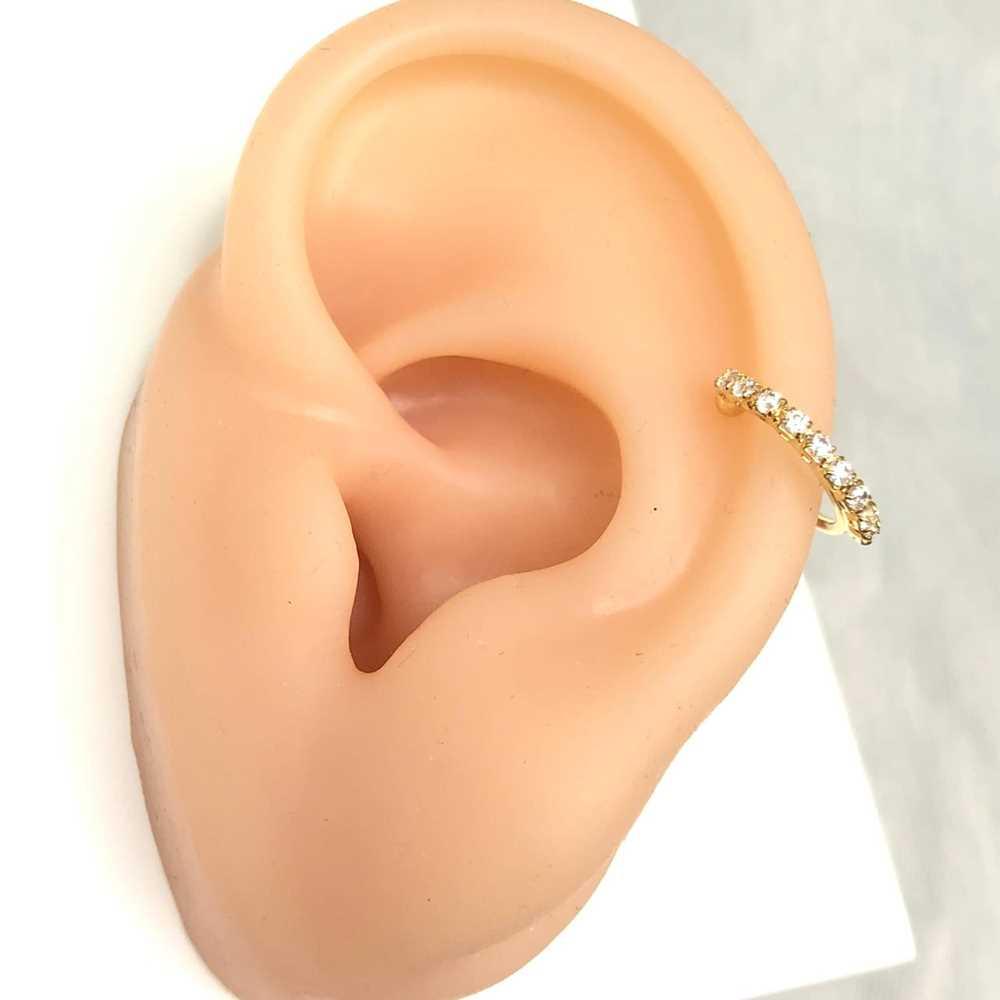 Brinco para cartilagem argolinha cravejada zircônia piercing fake para cartilagem semijoia