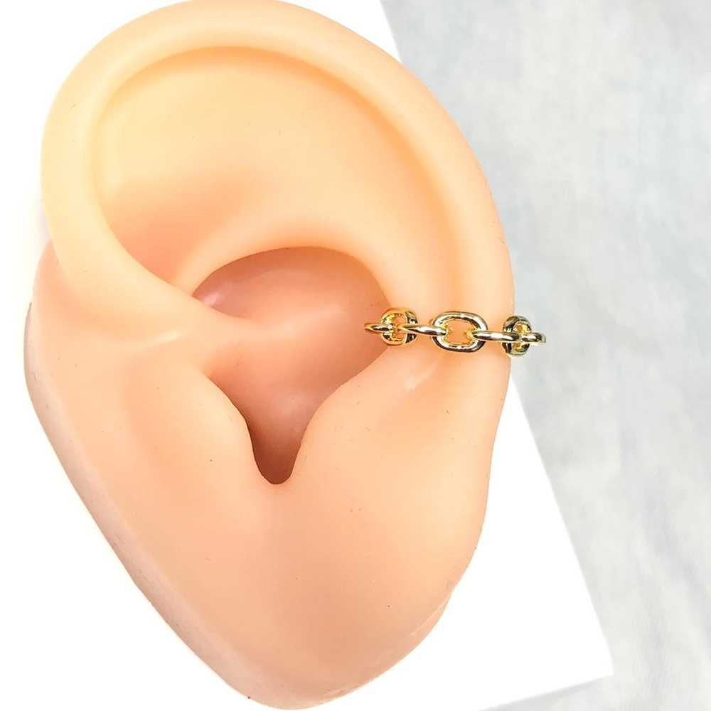 Brinco para cartilagem argolinha elos dourada piercing fake para cartilagem semijoia