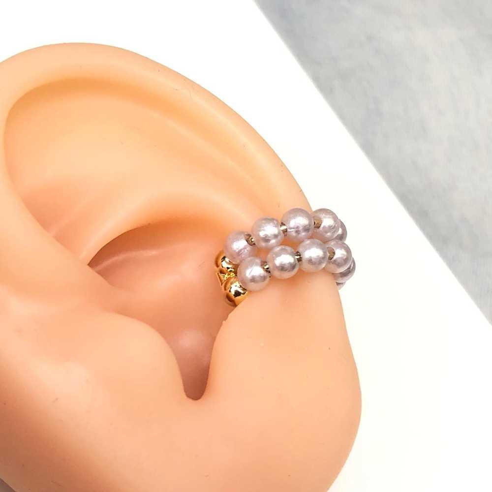Brinco para cartilagem argolinha pérolas dupla piercing fake para cartilagem semijoia