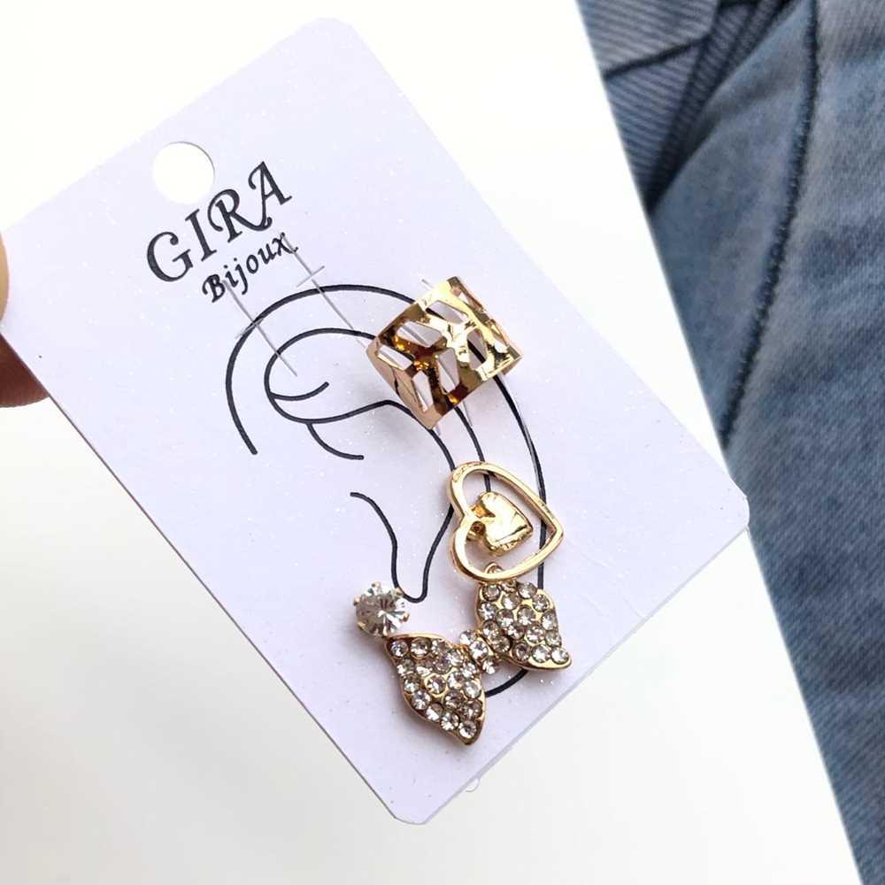 Brinco para cartilagem piercing fake orelha dourada argolinha + brinco coração, lacinho e ponto de luz (furo comum)