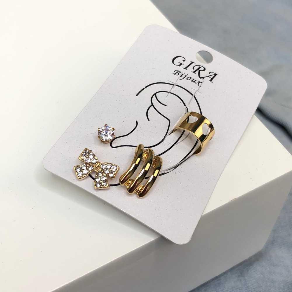 Brinco para cartilagem piercing fake orelha dourada argolinha + brinco lacinho e ponto de luz (furo comum)