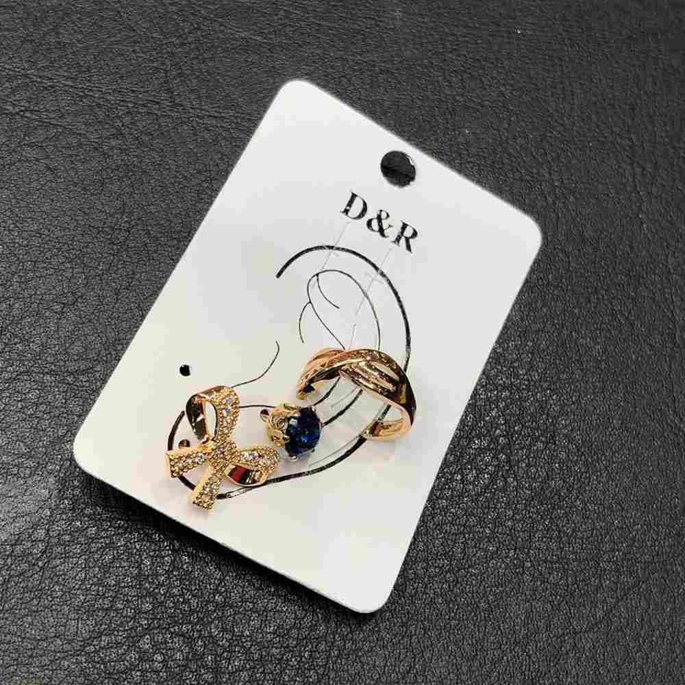 Brinco para cartilagem piercing fake orelha dourado argolinha X + brinco de bolinha azul e lacinho (furo comum)