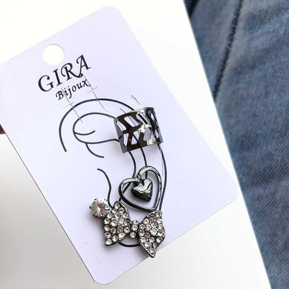 Brinco para cartilagem piercing fake orelha grafite argolinha + brinco coração, lacinho e ponto de luz (furo comum)