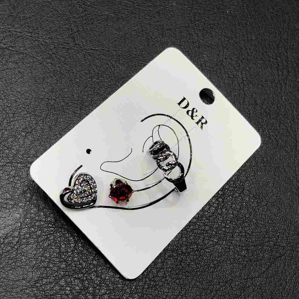 Brinco para cartilagem piercing fake orelha grafite argolinha trançada + brinco de bolinha vermelha e coração (furo comum)