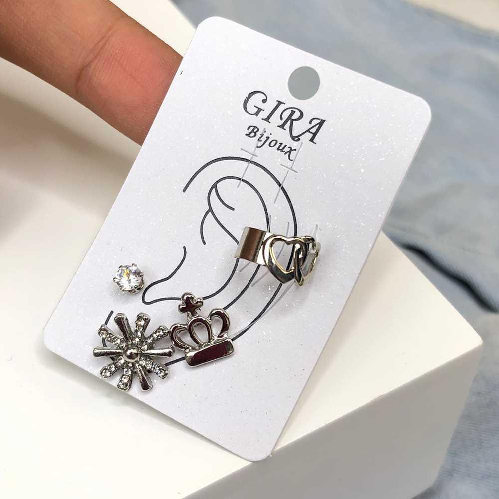 Brinco para cartilagem piercing fake orelha prata argolinha + brinco coroa, floco de neve e ponto de luz (furo comum)