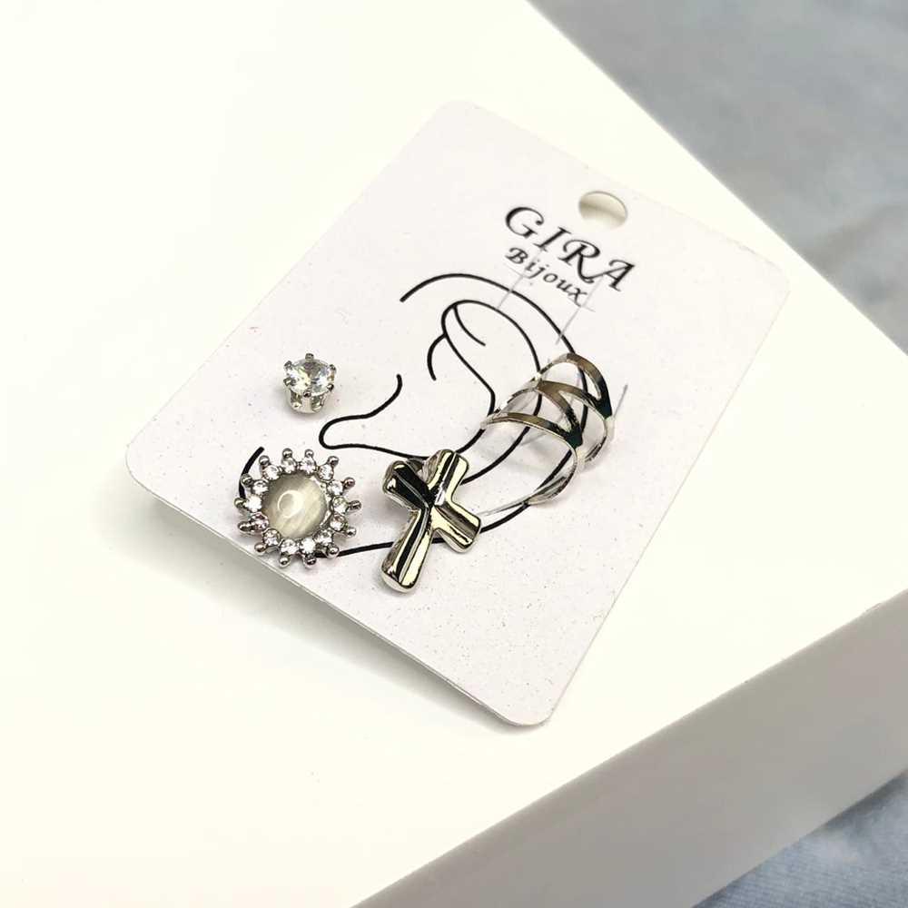 Brinco para cartilagem piercing fake orelha prata argolinha + brinco cruz, lacinho e ponto de luz (furo comum)
