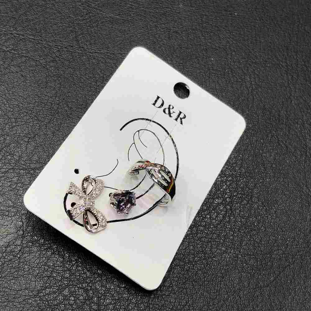 Brinco para cartilagem piercing fake orelha prata argolinha X + brinco de bolinha lilás e lacinho (furo comum)