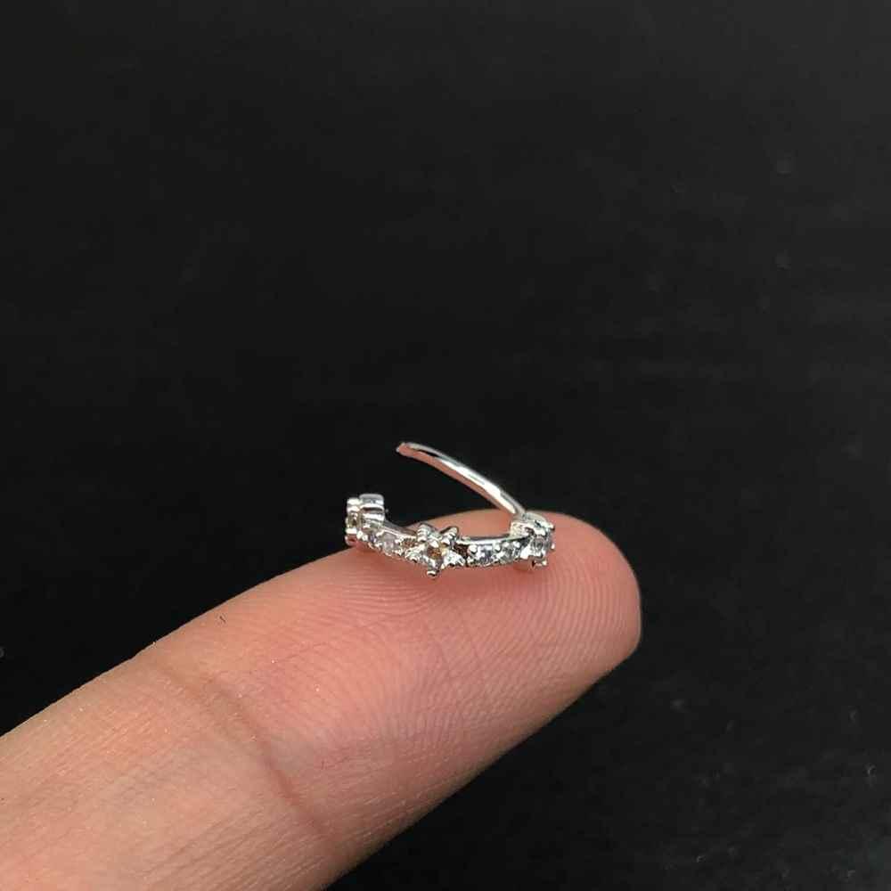 Brinco para cartilagem piercing orelha argolinha em aço inoxidável cravejado microzircônias