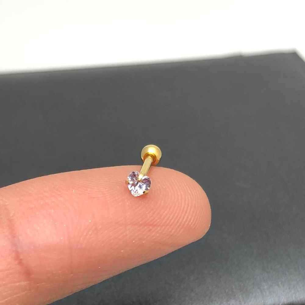 Brinco para cartilagem piercing orelha dourado aço inoxidável banhado coração ponto luz zircônia 3,2mm