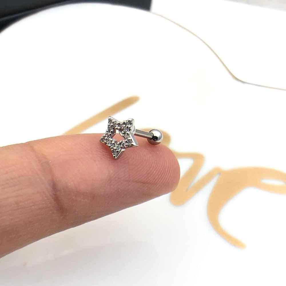 Brinco para cartilagem piercing orelha estrela cravejada mircrozircônias