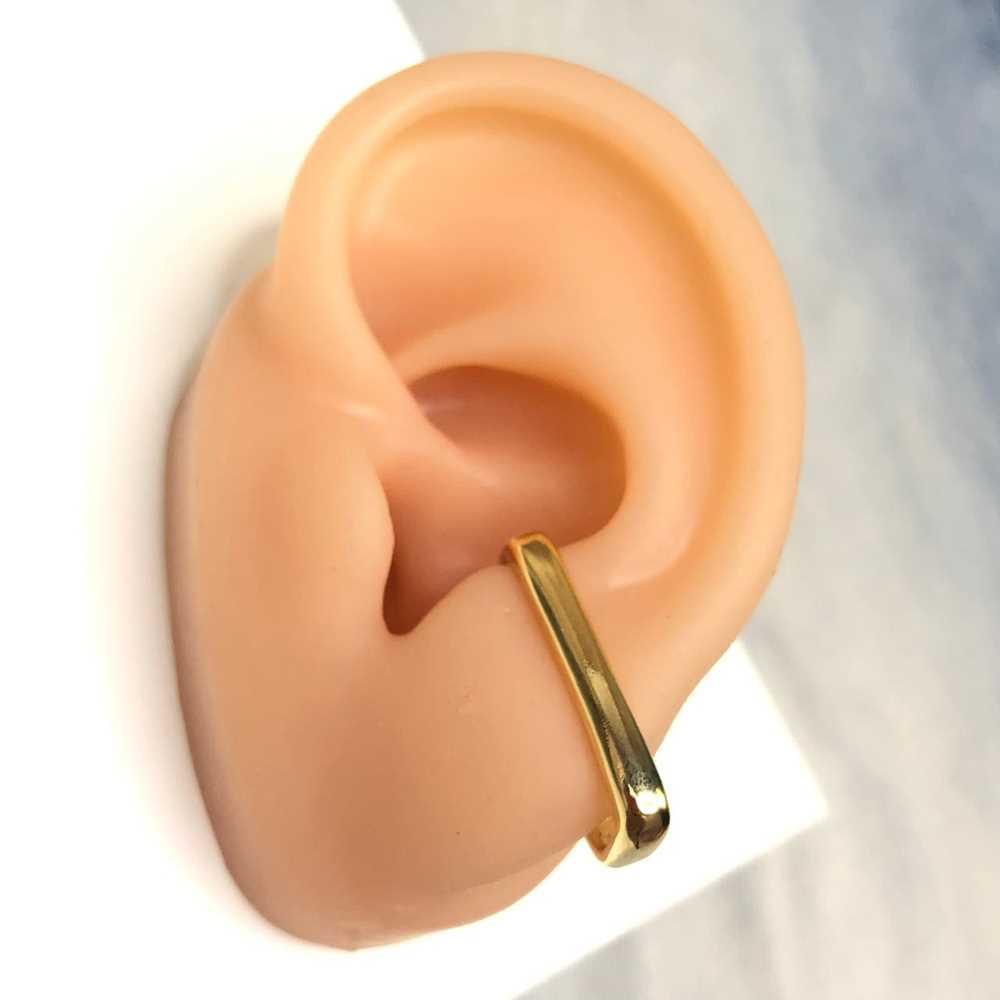 Brinco para cartilagem quadrado piercing fake para cartilagem semijoia