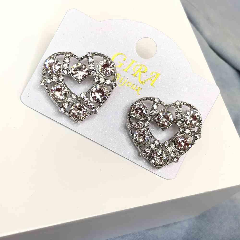 Brinco pequeno coração prata pedrarias prata