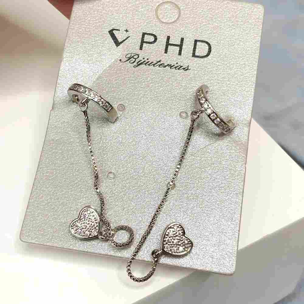 Brinco pequeno duplo para cartilagem argolinha e furo comum coração prata cravejado strass prata