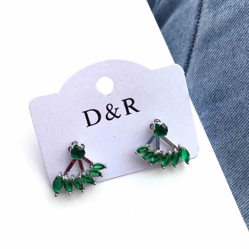 Brinco pequeno zircônia ear jacket verde esmeralda