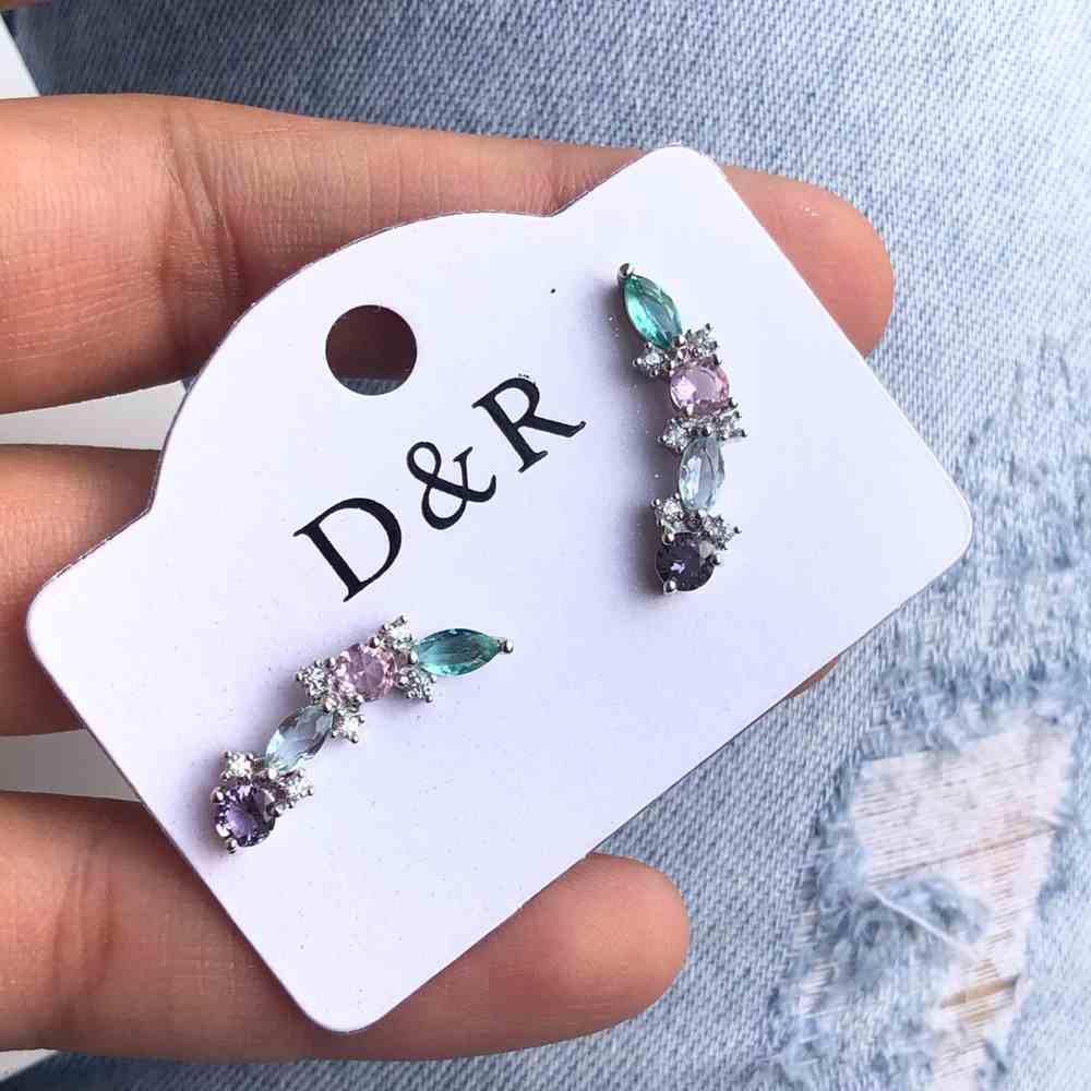 Brinco pequeno zircônia estilo earcuff prata colorful
