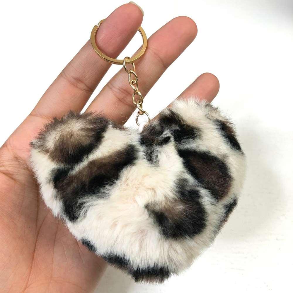 Chaveiro Pompom Coração de Oncinha Leopard Creme